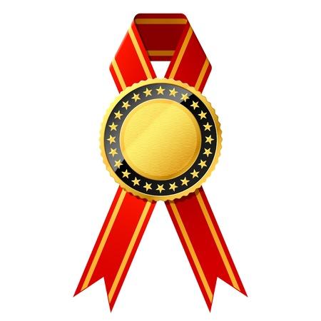 trophy award: De oro con cinta roja