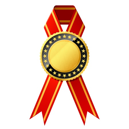 Gold award with red ribbon