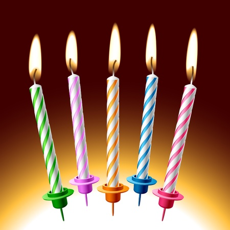 lit candles: Birthday candles. Place on your cake. Illustration