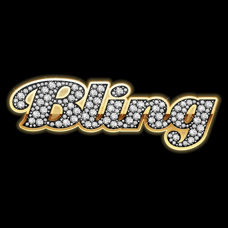 rapping: Bling word in diamonds Illustration