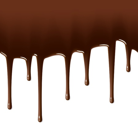 melted chocolate: Melted chocolate dripping. Seamless illustration.