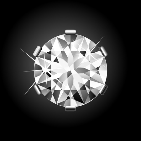 diamond stones: Round Diamond on black Illustration