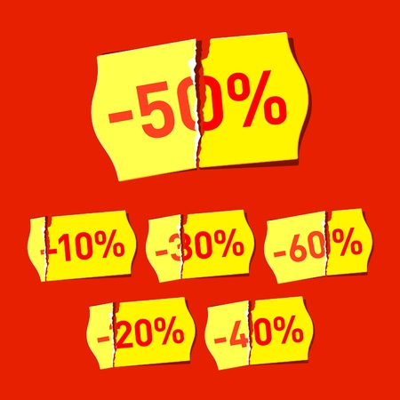 Torn price tags with discounts  Stock Vector - 9882114