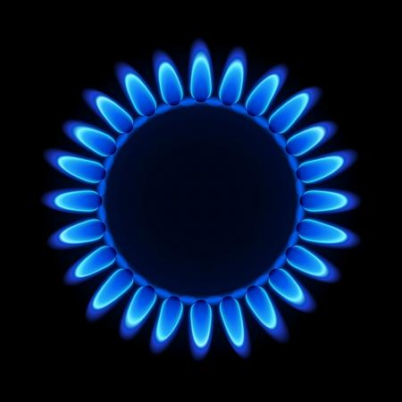 gas flame: Fiamma di gas su un piano di cottura Vettoriali