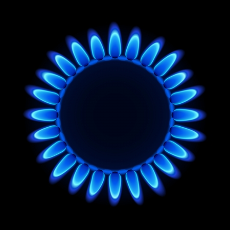 methane: Gas flame on a hob