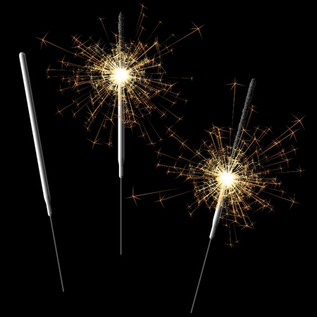 Sparklers on black Stock Vector - 9882159