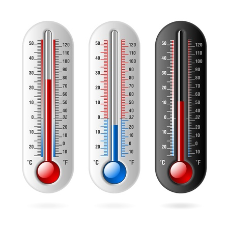Thermometers. Celsius and Fahrenheit. Vector