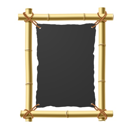 tropical border: Bamboo frame with blank black paper
