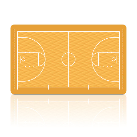 Basketball court with detailed parquet floor portrayal. Vector