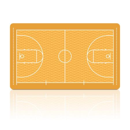 cancha de basquetbol: Cancha de baloncesto con la representaci�n detallada suelo de parquet.
