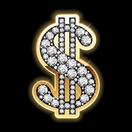 dollaro: Bling-bling. Simbolo del dollaro in diamanti. Vettoriali