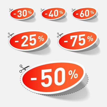 cut price: Discount percents with cut line