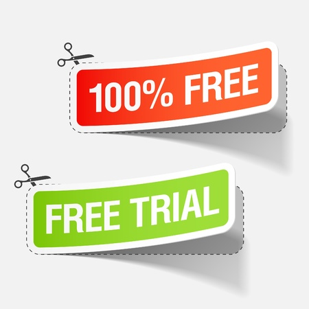 free gift: 100% free and free trial labels Illustration
