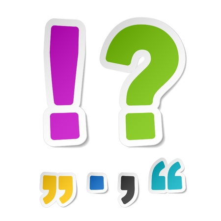 comma: Exclamation and question mark stickers