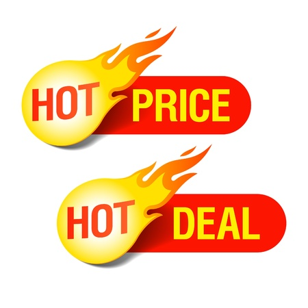 red hot: Hot price and Hot deal tags Illustration