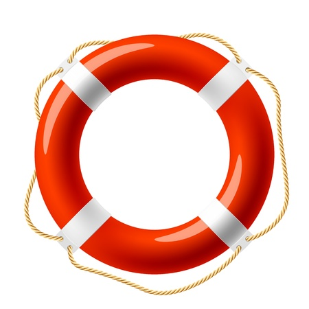 ship sign: Red life buoy