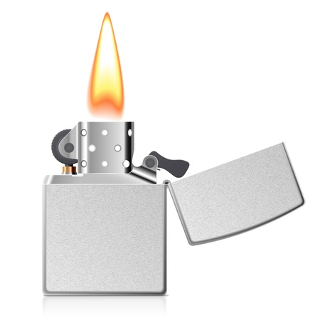 gas lighter: Burning cigarette lighter