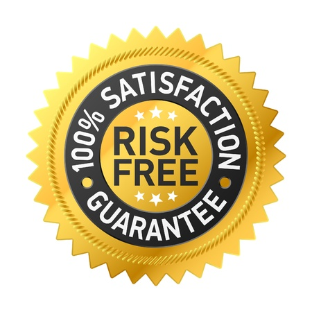 money risk: Risk-free guarantee label Illustration