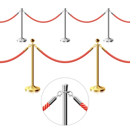 velvet rope barrier: Rope barrier. Seamless illustration.