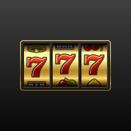 machine: 777 - Winning in slot machine Illustration