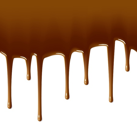 melted chocolate: Milk chocolate drips. Seamless illustration.