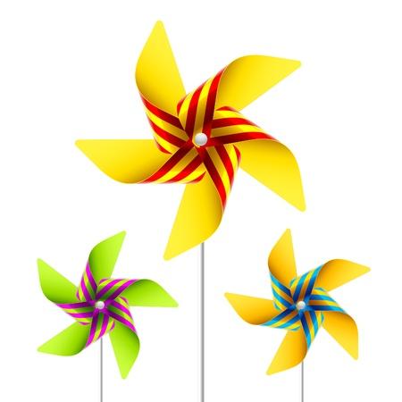 windmills: Juguetes de molinete Vectores