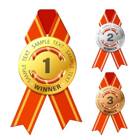primer lugar: Premios de oro, plateado y bronce Vectores