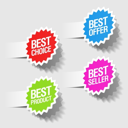 decis�es: Best choice, best offer, best product and best seller tags