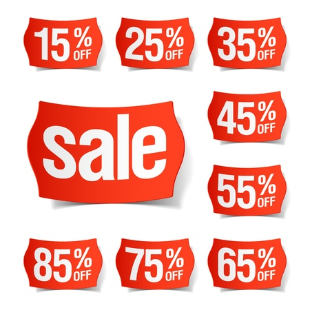 percentage sign: Discount price tags Illustration