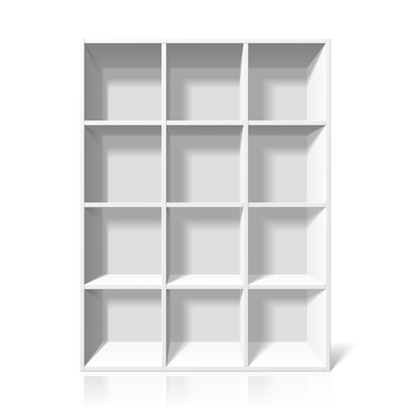 empty shelf: White bookshelf Illustration