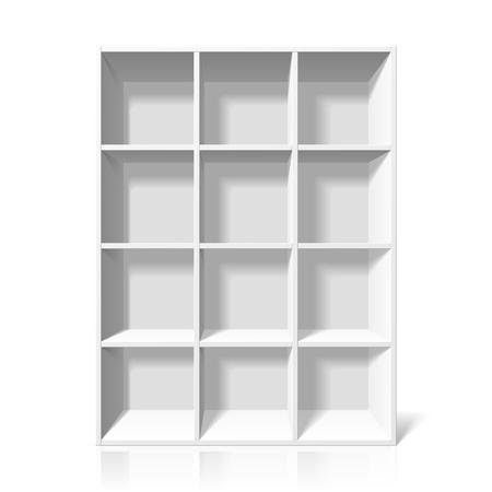 shelf with books: White bookshelf Illustration
