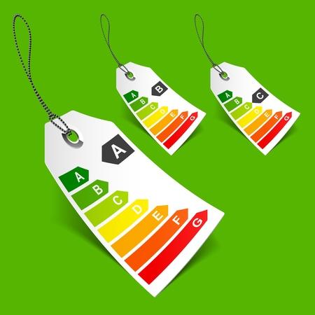 consumo energia: Tag di classificazione energetica Vettoriali