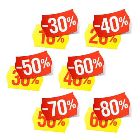 price cut: More discounts - price tags Illustration