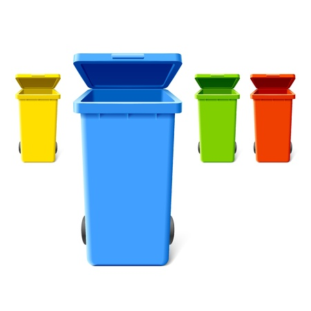 garbage bin: Colorful recycling bins