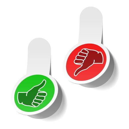 expressing negativity: Thumb up and thumb down signs Illustration