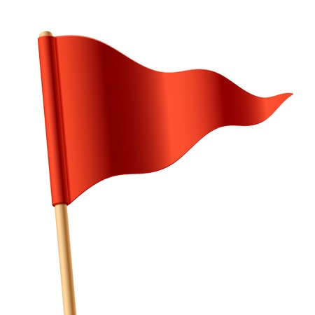 flagpoles: Waving red triangular flag