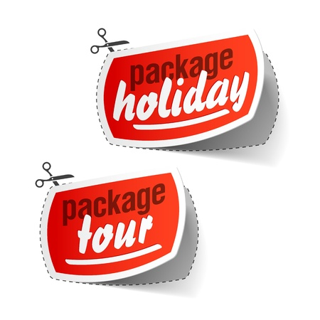 Package holiday and package tour labels Stock Vector - 10120476