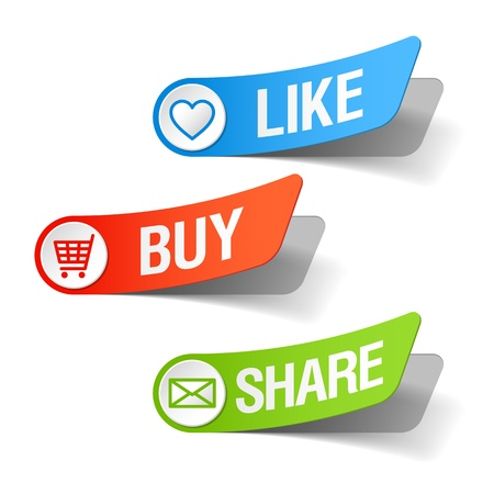 share market: Buy, like and share labels Illustration