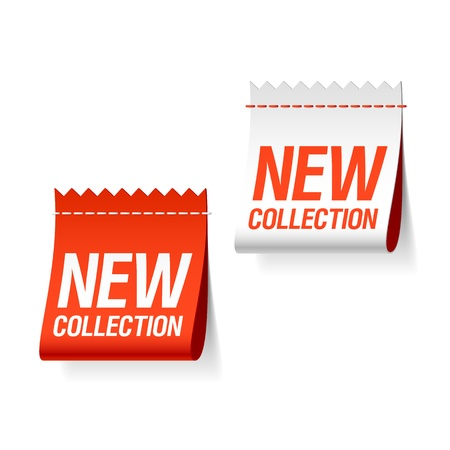 new product: New collection labels. Vector.