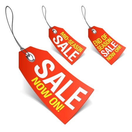 price reduction: Sale now on and Season sale tags
