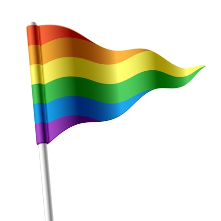 triangular banner: Rainbow flag