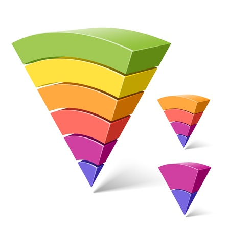 6, 4 and 2-layered pyramid shapes Stock Vector - 10466466