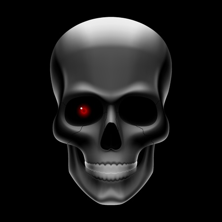 ominous: One-eyed skull on black Illustration