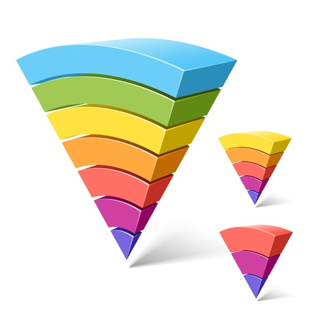 7, 5 and 3-layered pyramid shapes Vector