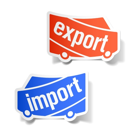 import and export business: Export and import labels Illustration