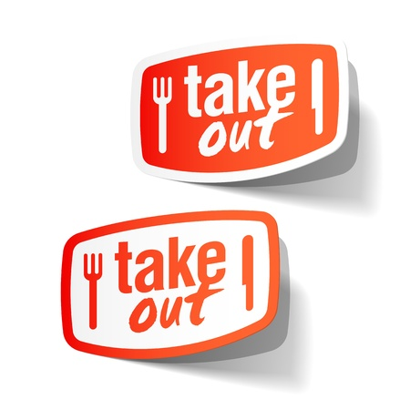 buen servicio: Etiquetas de comida para llevar Vectores