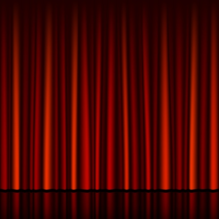 classical theater: Seamless red curtain with stage
