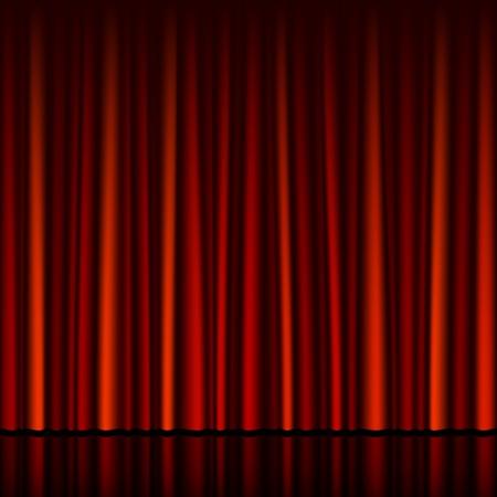 rideau sc�ne: Transparente rideau rouge avec le stade