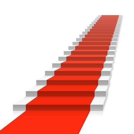 stair: Trap met rode loper Stock Illustratie
