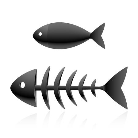 leven en dood: Vis skelet Stock Illustratie